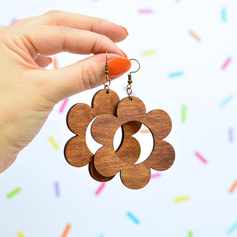 Wooden Daisy Statement Earrings