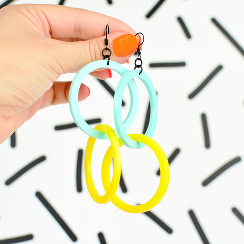 Infinity Hoop Statement Earrings - Mint/Yellow