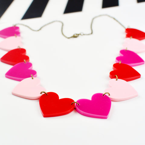 Heart Chain Statement Necklace