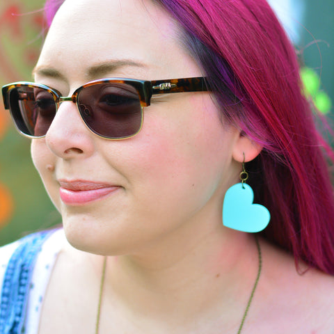 Heart Statement Dangle Earrings