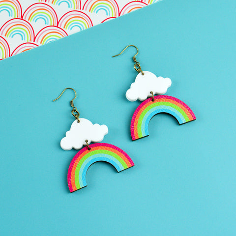 Rainbow Cloud Dangle Earrings