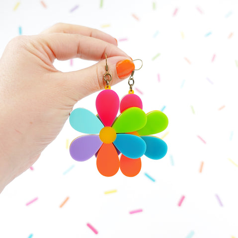 Colourful Daisy Statement Earrings