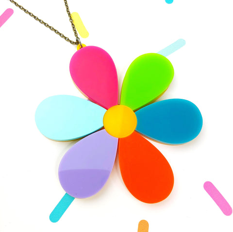 Colourful Daisy Statement Necklace