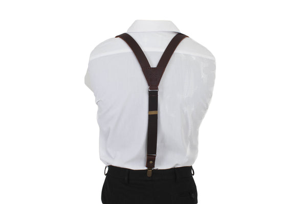 Leather Suspenders / Dark-Brown