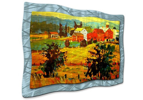 Amish Farms - Orange Metal Wall Art Decor
