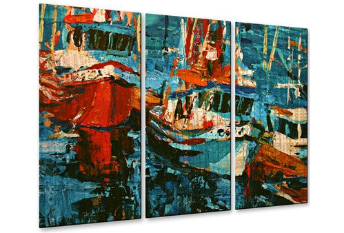 Boats in Turquoise - Metal Wall Art Decor - Brian Simons