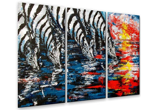 Zebras Four - Metal Wall Art Decor - Claude Marshall