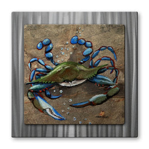 Crab Blue Slate - Metal Wall Art Decor - Elaine Hodges