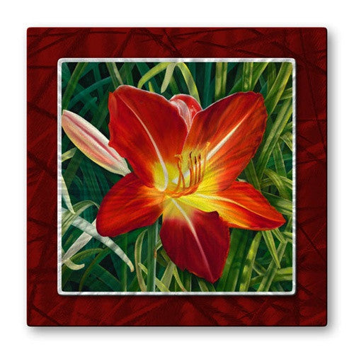 Red Day Lily - Quality Metal Wall Art Hanging - Artist Ora ...