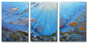 Dolphin Bay Contemporary Modern Metal Wall Art By Jerome Stumphauzer
