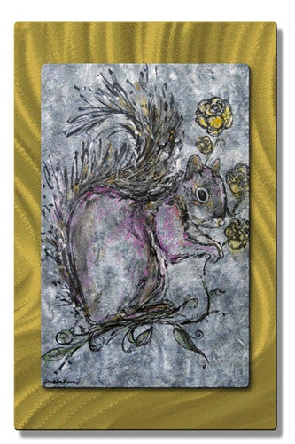 Squirrel Prefers Yellow - Metal Wall Art Decor - Christina Loraine