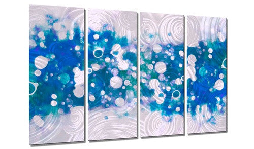 Drip Brokeh Aqua - Contemporary Metal Wall Hanging - Christopher Price