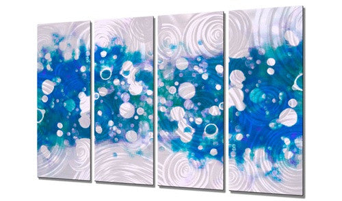 Drip Brokeh Aqua - Metal Wall Art Sculpture - Christopher Price