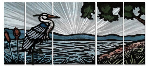 Blue Heron by Shore - Metal Wall Art Decor - John Schirmer