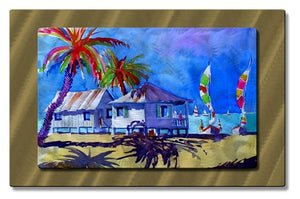 Caribbean Cabins - Metal Wall Art Decor - Richard Graves