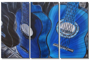 Guitars in Blue - Metal Wall Art Decor - Melissa Sherowski