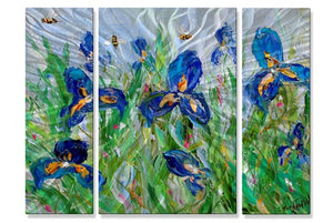 Blue Iris and Bees - Metal Wall Art Decor - Karen Tarlton