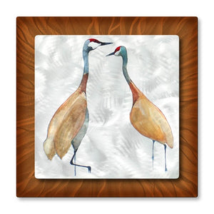 Two Cranes - Metal Wall Art Decor - Christine Lindstrom