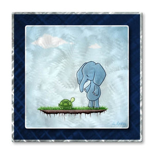 Elephant Meets Turtle - Metal Wall Art Decor - ALL Artsy