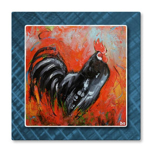 Rooster on Blue - Metal Wall Art Decor - Rosilyn Young