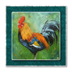 Rooster on Green - Metal Wall Art Decor - Rosilyn Young