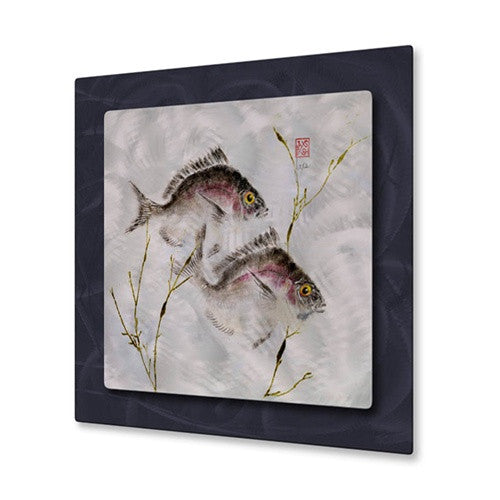 2 Porgies in Seaweed - Metal Wall Art Decor - Jack Schwartz