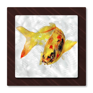 Yellow Koi Fish - Metal Wall Art Decor - Stephanie Kriza