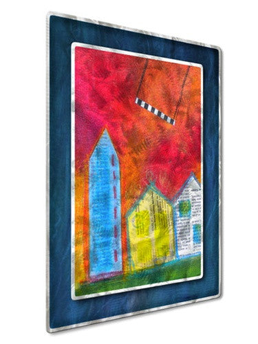 Swinging Over Rooftops - Metal Wall Art Decor - Judy Jacobs