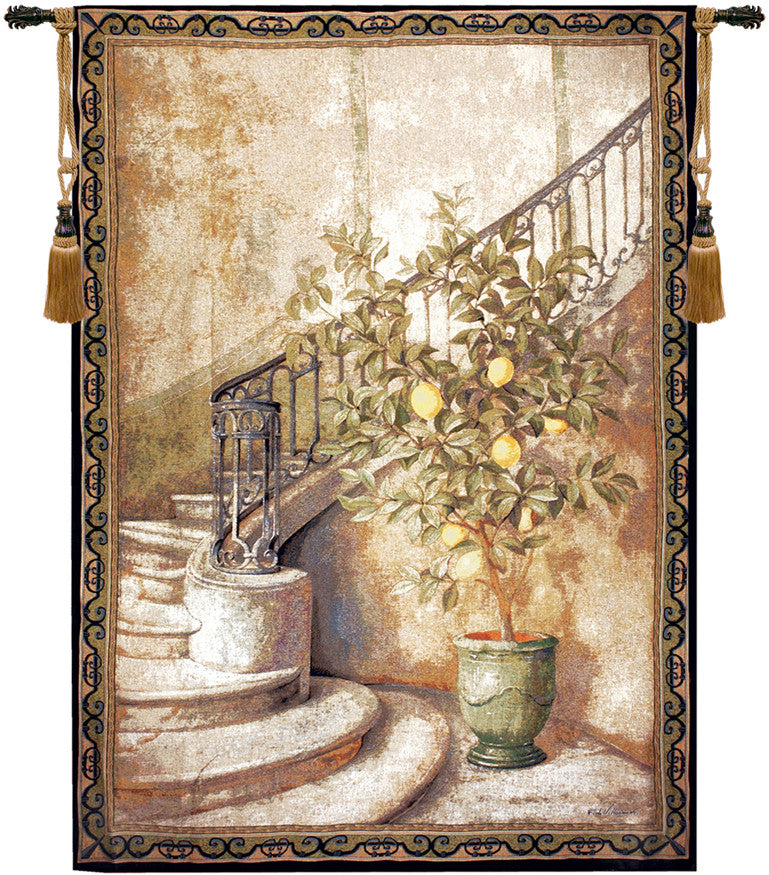 Beige Lemon Stairwell Decorative Wall Hanging Tapestry