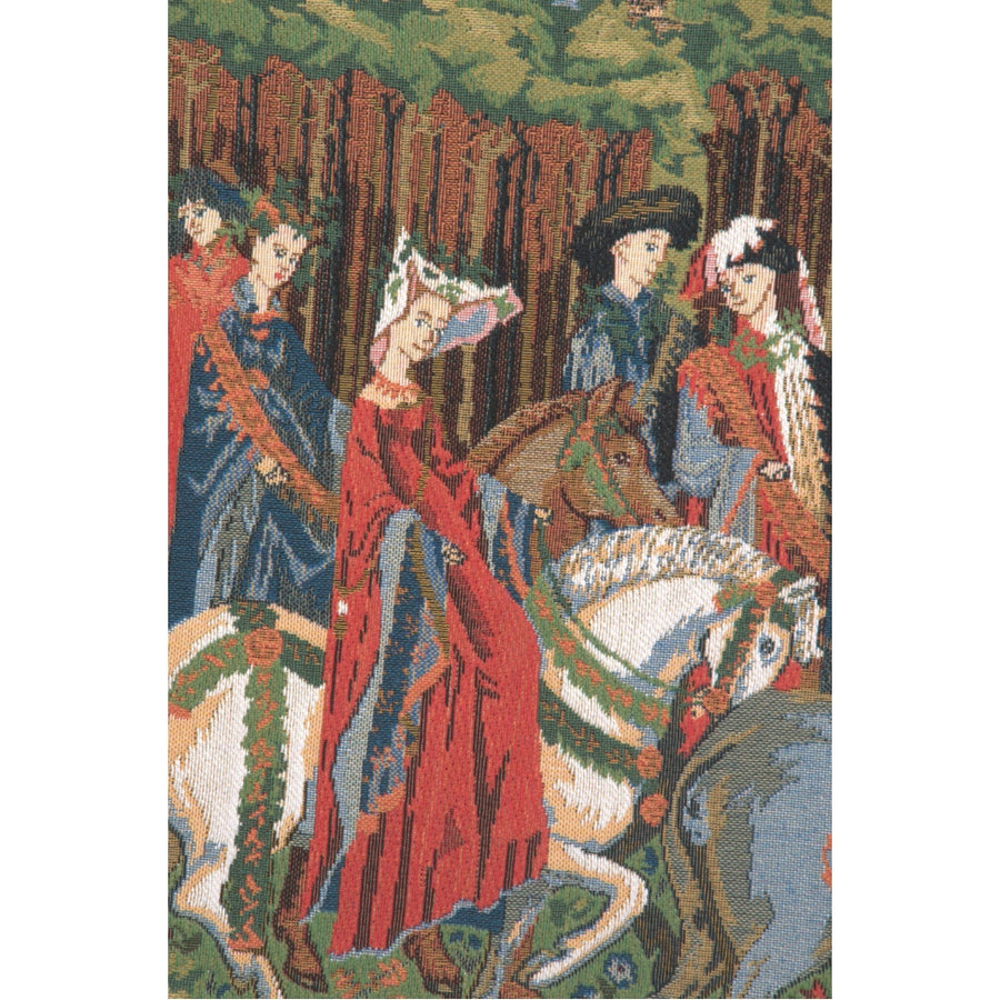 Green Medieval Falcon Hunt Tapestry Decor