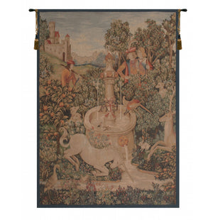 Large Green Licorne A La Fontaine I French Decor Wall Tapestry