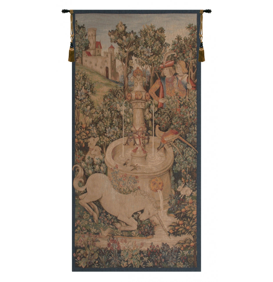 Green Portiere Licorne Fontaine French Decor Wall Tapestry