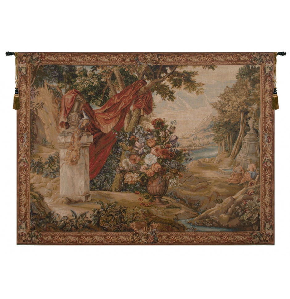 Bouquet Au Drape Fontaine with People French Wall Tapestry
