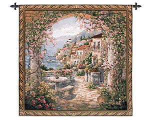 Seaside Mediterranean Hills Wall Tapestry