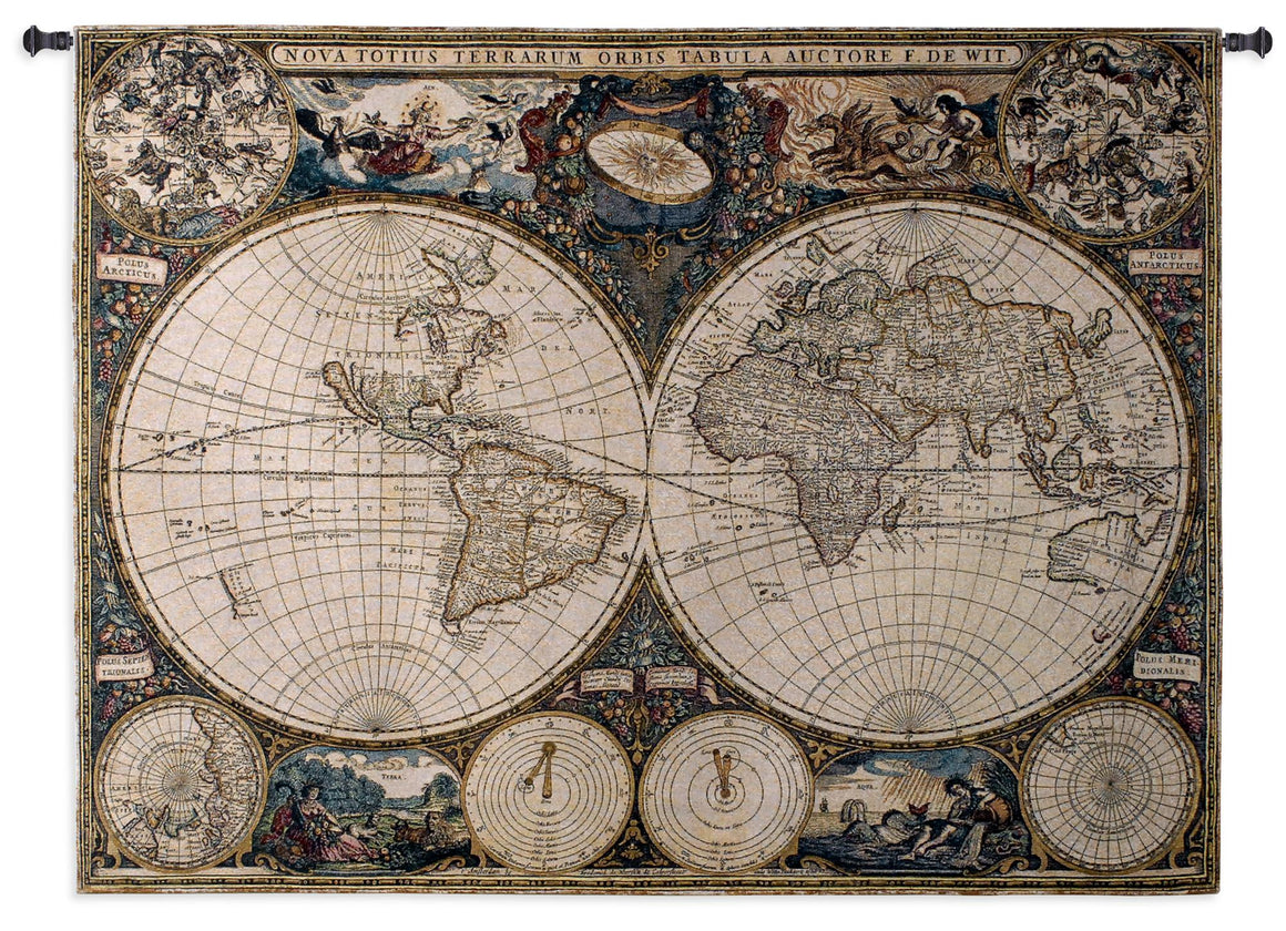 Old World Map Tapestry Textile Wall Hanging