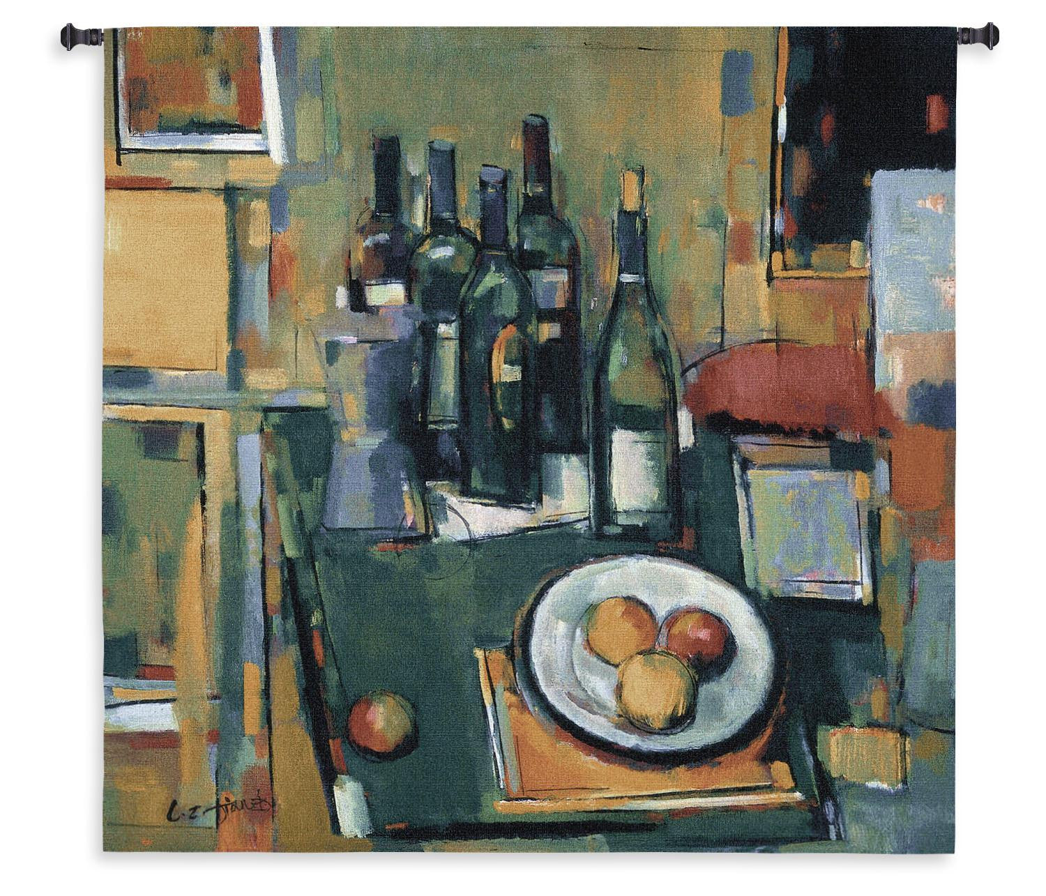 Abstract Wine Vin Blanc Bar Woven Tapestry