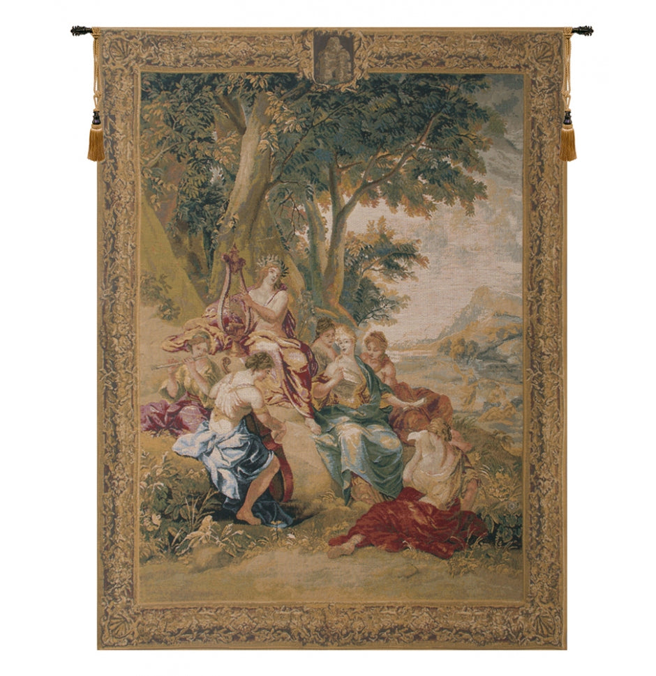 Gold Apollo Among the Muses Woven Tapestry Wall Hanging