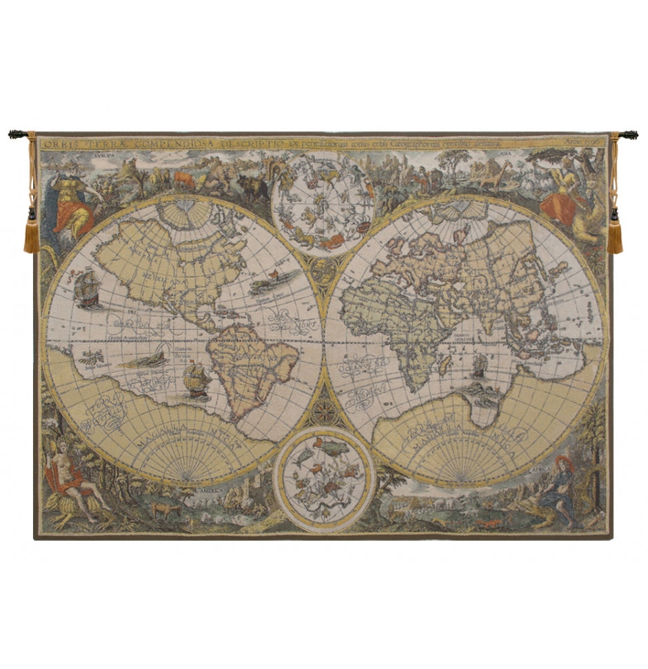 Map Woven Wall Hangings