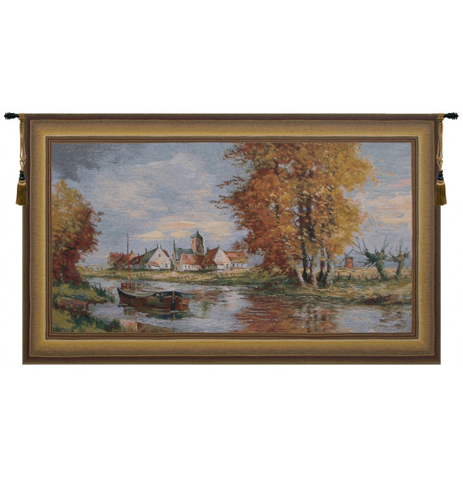 Riverside Flemish Village European Wall Hanging Tapestry