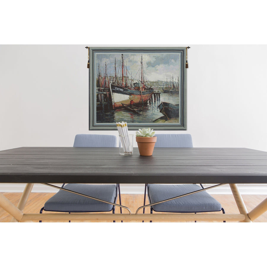 Blue North Sea Harbor European Wall Hanging Tapestry