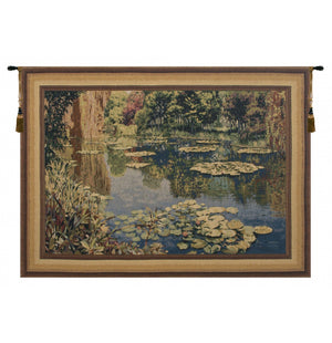 Lake Giverny Belgium Wall Tapestry Monet with Border