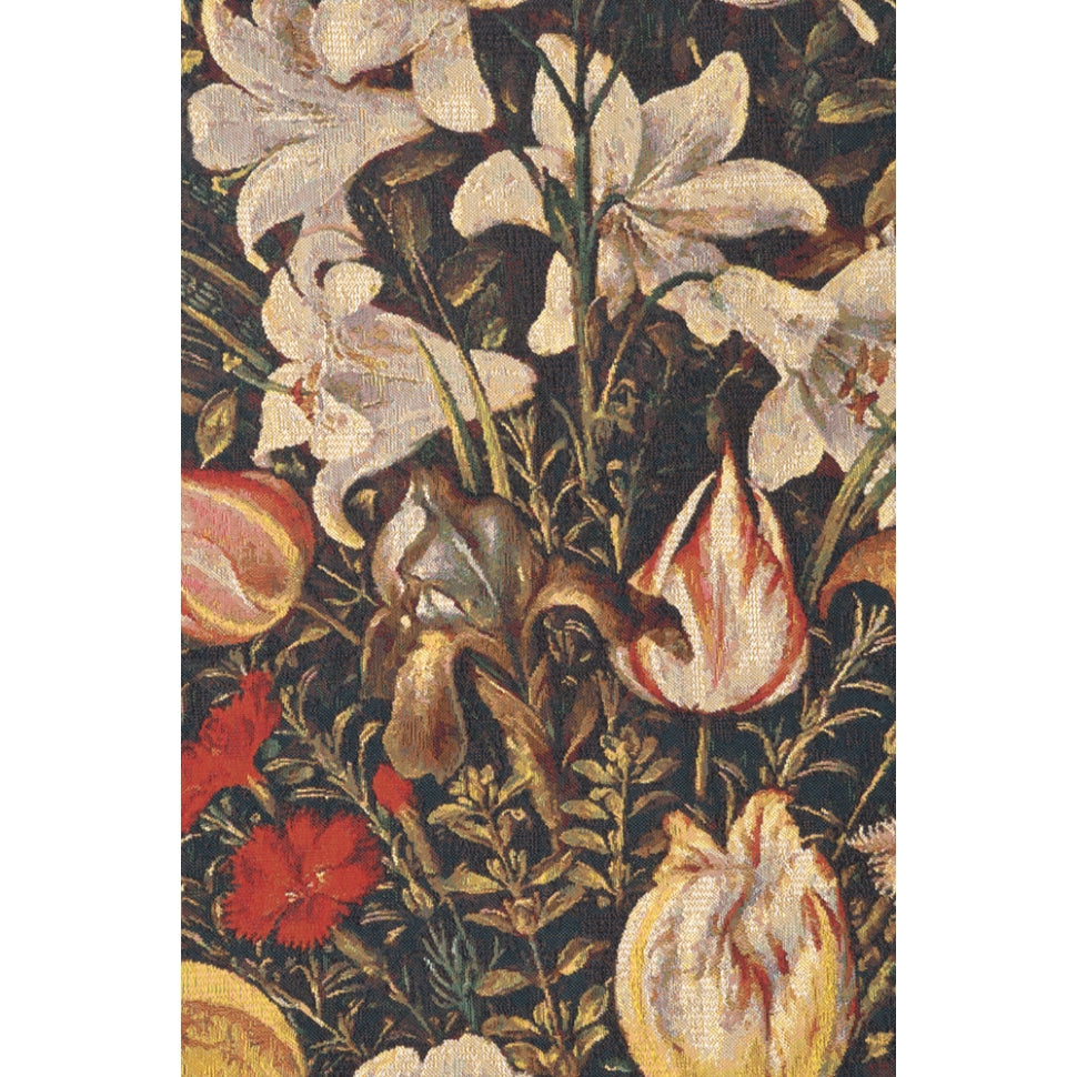 Black Floral Cotton Wall Tapestry