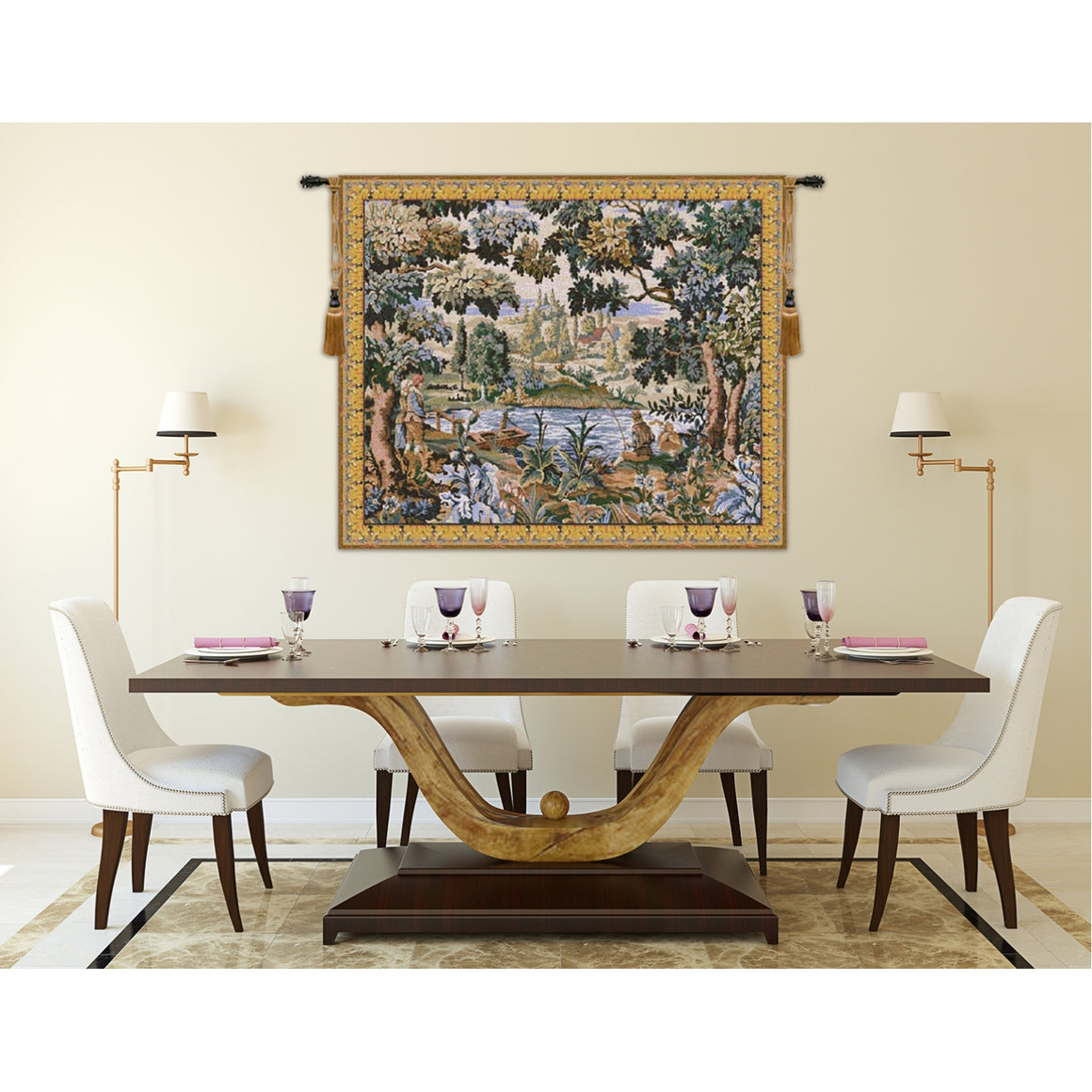 Paysage Flamand Village European Hanging Wall Tapestry
