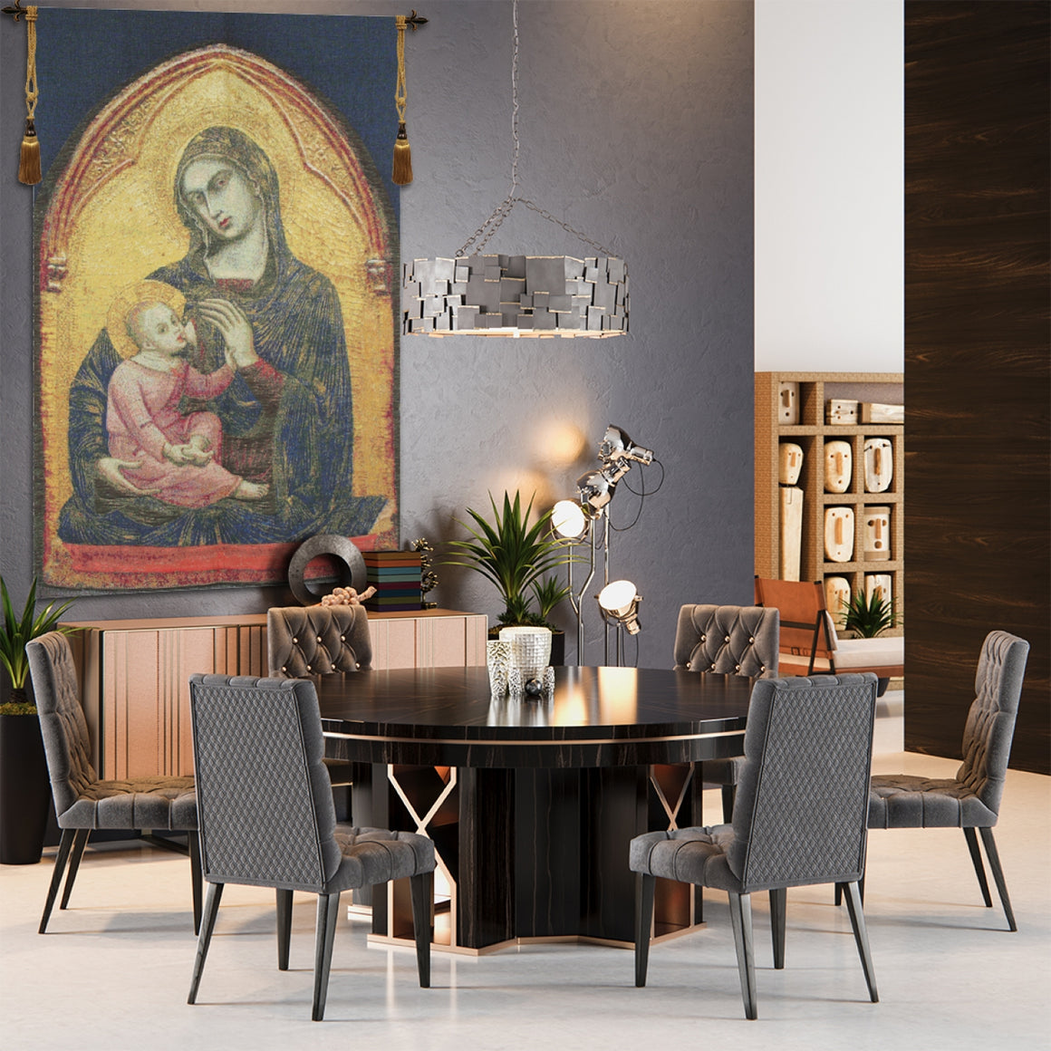 Tall Madonna European Hanging Wall Tapestry