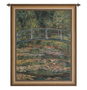 Green Japanese Bridge Gold European Hanging Wall Tapestry