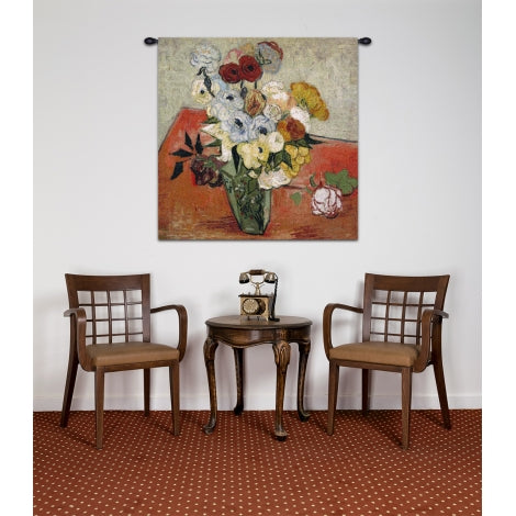 Small Red Van Gogh Flowers Woven Room Decor