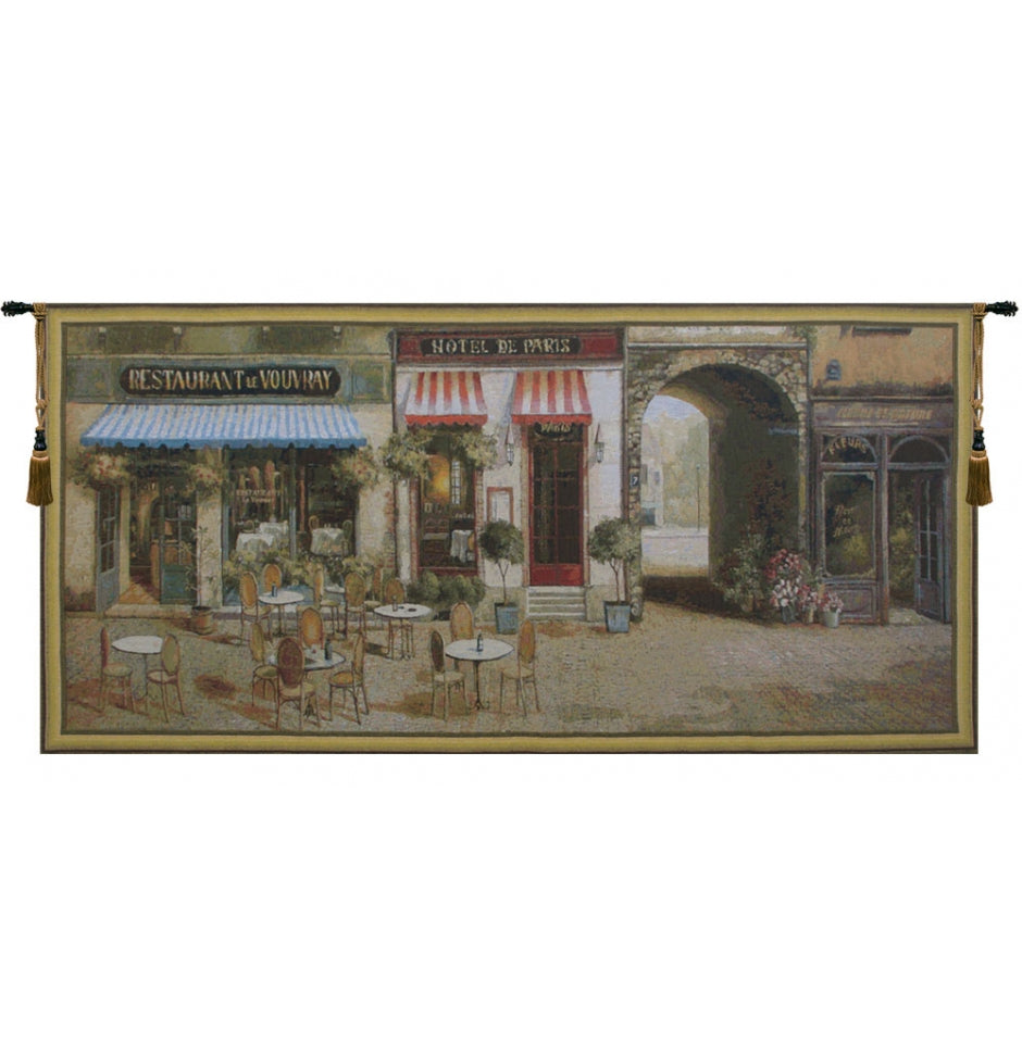 Paris Terrasse European Hanging Wall Tapestry