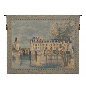 Blue Chenonceau Castle European Wall Hanging Tapestry