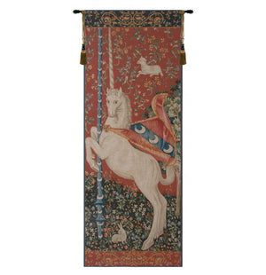 Large Red Portiere Unicorn Woven Wall Hanging