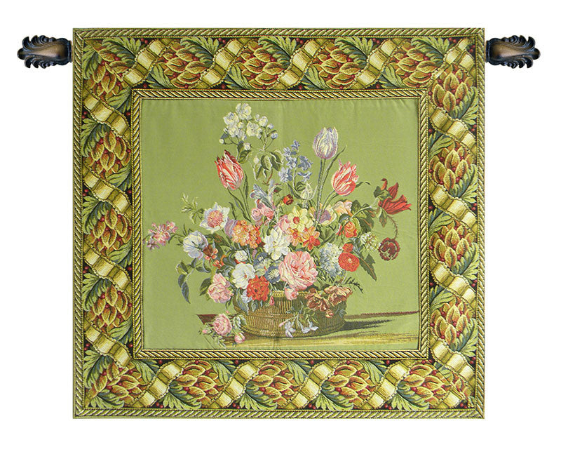 Flower Basket Green European Wall Hanging Tapestry